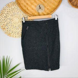 J. Crew | Asymmetrical Wool Zip Pencil Skirt SZ0